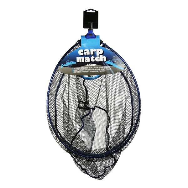 Dinsmores Carp Match Lightweight Rigid Blue Anodised Alloy Oval Landing Net 18in (45cm)