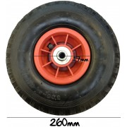 MDI Trolley Wheel - Wheel - Pneumatic 3.00-4 (260 x 85mm Tyre) Hole 12mm Diameter